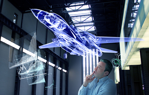 man watching an aeroplane technological simulation